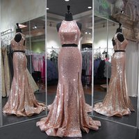 2018 Sexy Prom Dresses Rose Gold Sequins Lace Two Pieces Eve...
