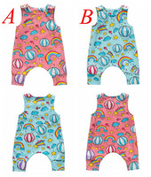 Ins neue Sommer Baby Ballon voller Druck Strampler Overalls Kinder blau Tierdruck blau rosa Strampler Baby 100% Baumwolle Overalls 0-3years