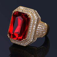 Nuovi anelli di Hip Hop Gioielli di alta qualità Ruby Gemstone Zircone anelli d'oro Anello punk di moda