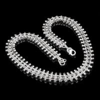 Envío Gratis 18nch Collar Plateado Plata 10 unids Clavicular collar de cadena 925 estampado para las mujeres y los Hombres de joyería de moda