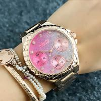 Cristal Fashion Girl GUE Marque féminine 3 Cadran style cadran Acier inoxydable bande de métal montre à quartz GS8309