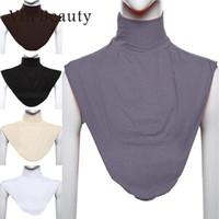 ヴィン美女女性イスラム教徒のストレッチ弾性調節可能な取り外し可能な襟偽の襟シフォンブラウスシャツラペルトップスアクセサリー