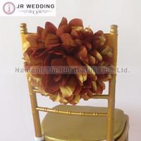 50 шт. золото Тафта Chiavri цветок стул створки цветок эластичный стул группа крышка стула для свадебные украшения