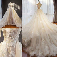 Luxurious Detachable Wedding Dresses Jewel Long Sleeve Lace ...