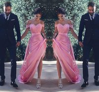 2018 Sexy Pink Off- Shoulder A- Line Bridesmaid Dresses Lace A...