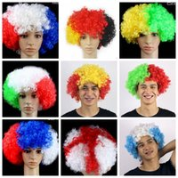 2020 Copa do Mundo Seleção france argentina Itália alemão UK Partido Fan peruca Suprimentos auriculares explosão Carnaval cabelo feriado