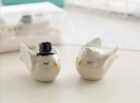 Nuovo 100pcs = 50 set / lotto sposa sposo angelo amore uccelli sale e pepe shaker bomboniere e gite per gli ospiti GBN-159
