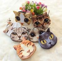 شعار مخصص 3D مطبوعة جميل لطيف القط الكلب وجه الحيوان مطبوعة سحاب عملة وحاملات محفظة محافظ ماكياج حقيبة صغيرة الحقيبة 500pcs