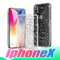 For iPhone X Clear Case 3D Bling Bling Glitter Case Soft TPU...
