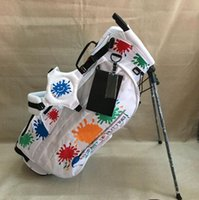 New White Big Paint Splash Golf Stand Bag + Free Golf Hat Ca...