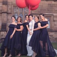 패션 하이 낮은 신부 들러리 드레스 섹시한 A 라인 오프 Shoudler Tulle BrideMaid 드레스 웨딩 파티 댄스 파티 가운의 하녀 명예 드레스