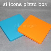 200 ml cuadrados cuadrados de silicona contenedores personalizados para cera Novedad Pizza Concentrado Frasco de cera de silicona Contenedor cuadrado de silicona Dabber Herramientas