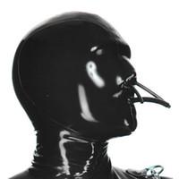 100% Saf Lateks Davlumbazlar Sabit Ağız Tüpü ve Burun Tüp Kolokasyon Lateks Catsuits Kauçuk Fetiş Maske El Yapımı Cosplay Parti Giymek