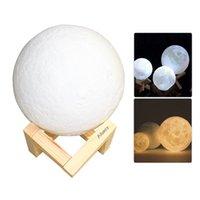 3D Печать Лунная Лампа LED Night Light Изменение Цвета Комната Спальня Стол Рабочий Стол Прикроватные Лампы USB Led Nightlight для Дома Рождественские Украшения