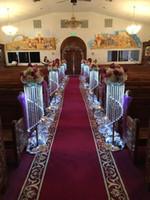 Vendita di Bulk Elegante scintillante cristallo trasparente ghirlanda lampadario passerella matrimonio strada piombo tavolo centrotavola evento festa T-stand decorazione