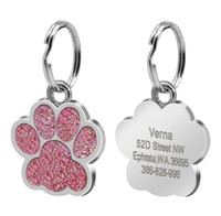 Drop shipping Paw Shape Dog ID Tag Inciso cane ID Nome Tag Pet collare pendente Incidere gratis Nome e numero di telefono