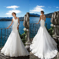 Milla Nova 2018 New Beach Mermaid Abiti da sposa Appliques di pizzo bianco Sheer Neck Illusion Abito da sposa Lungo Corte dei treni Robe De Marriage