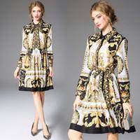 2020 Printemps Été Automne piste Vintage baroque impression à manches longues col Roun luxe, A-ligne Femmes Avslappnad robe arriv en gros