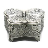 Antieke metalen rose gravure vlinder sieraden doos trinket sieraden opslag keepsake box voor vrouwen, zilver