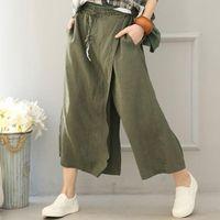 Kadın Pamuk Keten Geniş bacak pantolon