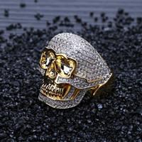 Anillo del cráneo de Hip Hop de cobre de dos tonos heló hacia fuera Micro pavimentada fahion del anillo de circón cúbico punk Hombres Mujeres