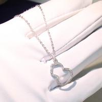 Classico lusso gioielli in argento sterling 925 collana zucca delicata inserto trapano femminile pavimenta bianco zaffiro diamante cz ciondolo a catena regalo