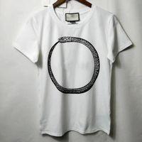 18SS Lujo Europa Italia Alta Calidad Serpiente Snake Tshirt Moda Hombres Mujer Camiseta Casual Algodón Top Top