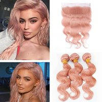 Indian Body Wave Pink Hair 3 Bundles with Lace Frontal Closu...