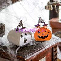 Halloween Blanco Fantasma Fantasma Calabaza Candy Box Mini Bolsa de Papel Halloween Packaging Caja de Regalo Party Candy Caja QW7935