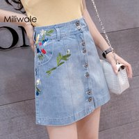New summer fashion embroidery flower short denim lady beauti...