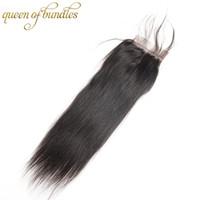 Закрытие шнурка бразильских волос закрытия шнурка прямых 4x4 шнурка 100% бразильское закрытие шнурка человеческих волос ,отсутствие линять