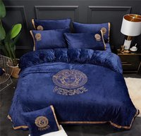 Letter V Embroidery Navy Goddess Bedding Cover High Weight C...