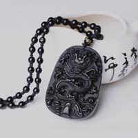 Drop Shipping Black ossidiana drago collana pendente ciondolo gioielli in giada ciondolo amuleto fortunato