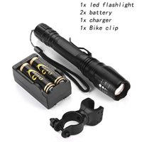 Black CREE T6 LED Tactical Flashlighs 5 Modes Zoomable Zoom ...