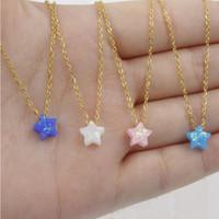 8mm opale stella collana pendenti in acciaio inox catena color oro per le donne gioielli accessori 45cm + 5cm 5 pezzi / lotto