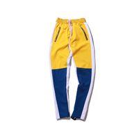 Pantaloni da uomo Vintage Color Block Patchwork Sweatspants 2021 Hip Hop Laterale con cerniera Casual Elastic Waist Joggers Streetwear S-XXL
