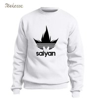 Saiyan Sweatshirt Men Black White Hoodie Japan Anime Crewne...