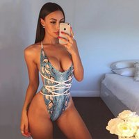 HOT selling one- piece swimsuit, with deep V digital snakeski...