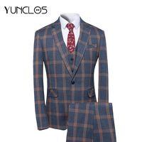Yunclos 2018 Yeni Varış Erkekler Suit 3 Parça Klasik Ekose Takım Elbise Erkekler Iş Düğün Slim Fit Tuexdo Parti Elbise Takım Elbise