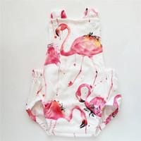 2018 Recién nacido Baby Girl Romper Flamingo Estampado sin mangas Sunsuit Summer Baby Girl Ropa de una pieza Trajes Ropa de bebé infantil 0-18 M