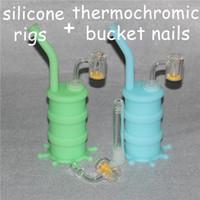 Resplandor portátil Barriles de silicona para fumar Hierba seca Irrompible Percolador Bong Fumar Tubos de aceite + Cubo termocromático de cuarzo