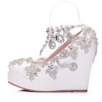 New Crystal chaîne bout rond chaussures pour femmes blanc strass talons plateforme de mode perles chaussures de mariage talon compensé Plus Size talons de mariée
