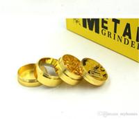De alta calidad de aleación de zinc Herb Grinder Gold 4 piezas para fumar tabaco Herbal Metal Herbal molinillos accesorios manuales para navidad 40 * 36 m