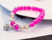Fine Jewelry natürliche Onyx Granat-Armband Edelsteinperlen Armbänder Elefant Lucky Charm Bracelets Mädchen Fit Frauen-Männer Schmuck
