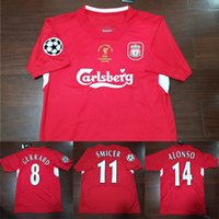 Liverpool LFC 04 05 Final Istanbul Retro Soccer Jersey # 8 Gerrard 2005 # 14 Alonso Champion Futebol Camisas Vintage Throwback Calcio MAGLIA