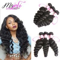9A mongol cabelo humano virgem tecer onda solta cor natural 4x4 lace closure com três pacotes e três partes de Ms Joli