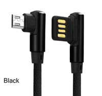 Dual Side Micro USB Cable 90 Degree plug Type C Nylon Charge...