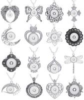 10Pcs / Lot Mischungs-Art-Verschluss-Charme-Anhänger-Halskette austauschbar 18mm Ingwer-Verschluss-Stückchen-Charmeschmucksachen mit Kette
