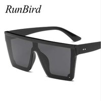 RunBird Brand Fashion Black One Piece Occhiali da sole Uomo oversize Driving Cool occhiali da sole quadrati maschili Oculos Gafas Eyewear 5121R