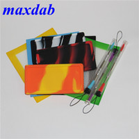 Silicone Wax Kit Set with square sheets pads mat small waxmate container sliver dabber tool for dry herb jars dab